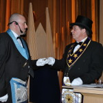 Brother Poff welcomes the Grand Master.