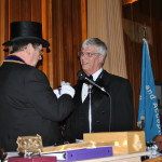 Brother Noble P. Johnson receives his Past District Deputy Grand Master's Jewel.